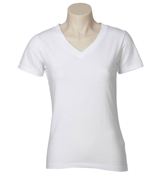 Ladies Fitted V Neck Stretch Tee