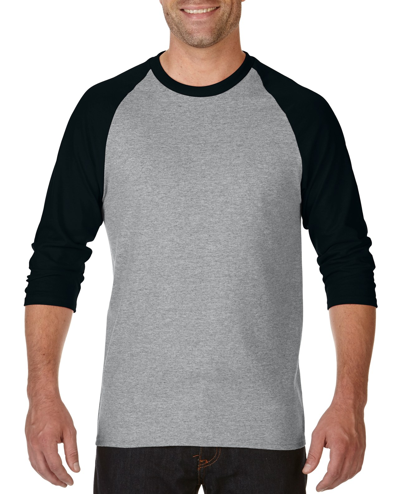 Gildan Mens Heavy Cotton 3/4 Raglan Tee