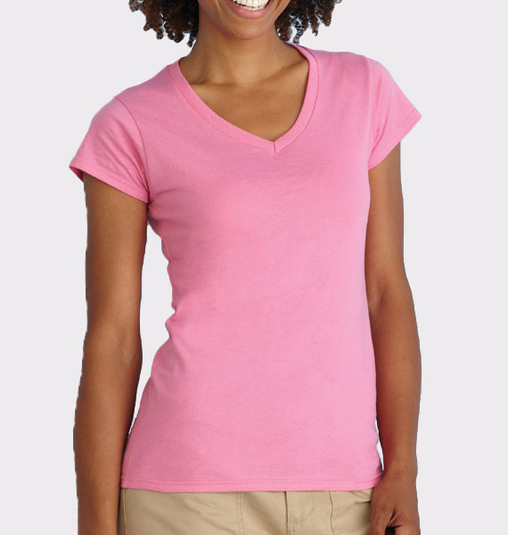 Ladies Soft Style V Neck T-Shirt