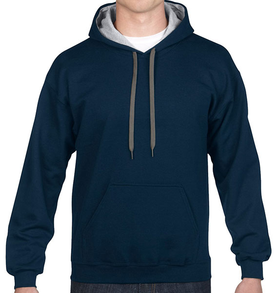 Gildan Mens Heavy Blend Contrast Hooded Sweatshirt