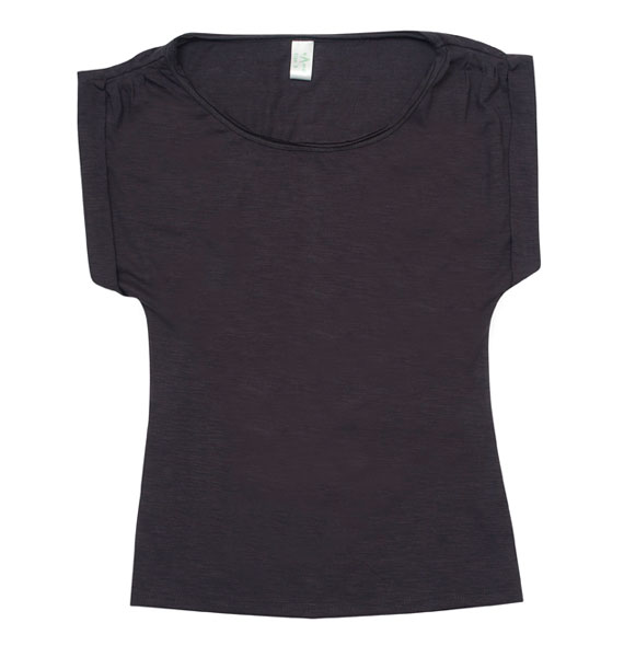 Ladies Wide And Distressed Rib Neck T Shirt